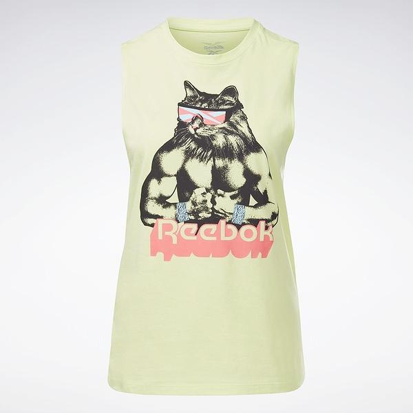 Reebok Gritty Kitty 女裝 背心 訓練 健身 貓咪 純棉 螢光綠【運動世界】GI8386