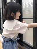 女童T恤Sun童品2019春裝新款女童寶寶童裝條紋娃娃領洋氣短袖T恤上衣夏款 晴天時尚館