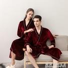 秋季和服情侶睡袍  女士中長款金絲絨四季浴袍  男士日式冰絲睡衣 遇見生活