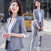 職業小西裝套裝灰色中袖夏季新款氣質甜美休閒西服薄款小香風 范思蓮恩