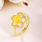 戒指 925純銀 琥珀-百搭花朵生日情人節禮物女開口戒73ga37【時尚巴黎】