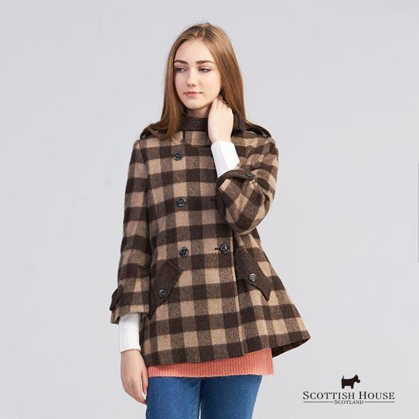 立領雙排釦格紋大衣