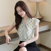 雪紡上衣 短袖8206夏季韓版V領飛飛袖系帶蝴蝶結波點雪紡衫上衣T614依佳衣