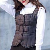 新款棉馬甲女秋冬短款羽絨棉坎肩打底小棉襖低領『韓女王』