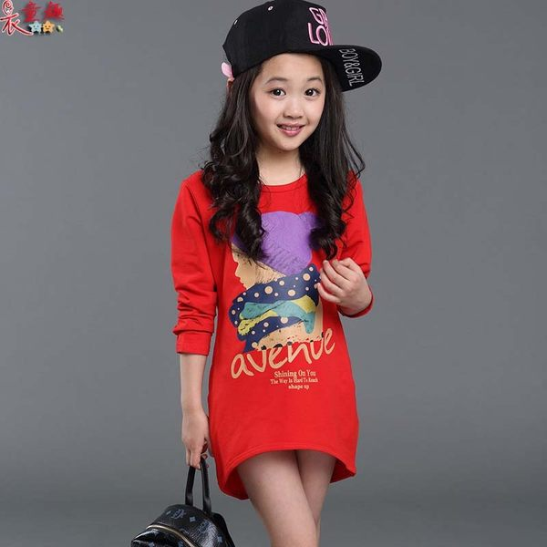 衣童趣 ♥春夏 韓版女童 女孩印花 圓領長板 長袖T恤 休閒百搭款 也可當連身裙穿