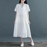 降價兩天 大尺碼民族風洋裝 提花V領短袖連身裙 民族風刺繡長裙子