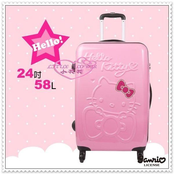 小花花日本精品♥ Hello Kitty 行李箱旅行箱 拉桿箱 24吋 粉色趴姿桃蝴蝶結