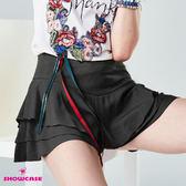 【SHOWCASE】V型寬腰三層荷葉襬褲裙(黑)