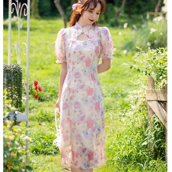 改良式粉嫩溫柔旗袍側開岔連身洋裝[99220-QF]美之札
