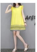 春夏休閒針織顯瘦波浪無袖膠印花A字長版上衣短洋裝   (黑  黃)二色售 11850066