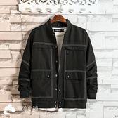 男士外套 2018新款男士韓版修身牛仔外套帥氣夾克百搭棒球衣服