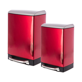 (組)蘿拉方形緩降金屬垃圾桶6L+12L紅