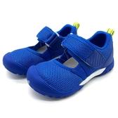 《7+1童鞋》中童 日本月星 MOONSTAR 輕量透氣 運動涼鞋 機能涼鞋 D446 藍色