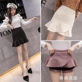 毛呢短裙 中大尺碼魚尾半身裙女 新款包臀裙子高腰毛呢短裙zzy9143『時尚玩家』