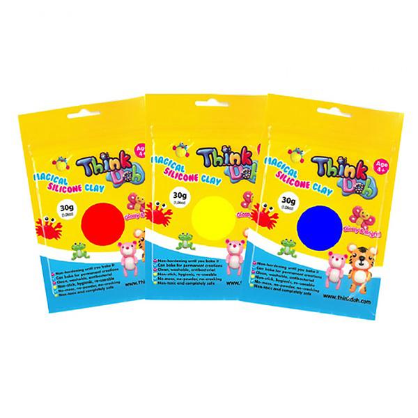 《 小康軒 Kids Crafts 》Think - doh 矽膠黏土 - 原色組 ( 紅、黃、藍 ) / JOYBUS玩具百貨