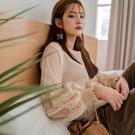 MIUSTAR 雙層網紗蕾絲袖針織上衣(...