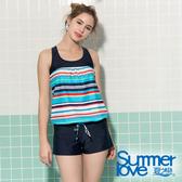 【Summer Love 夏之戀】加大碼條紋連身褲二件式泳衣(S19724)