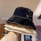 帽子女夏天M標絲光綢緞漁夫帽韓版潮名媛歐美風水鑚遮陽防曬盆帽 一米陽光