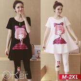 粉紅公主圖案印花寬鬆長版T恤+粉紅公主圖案五分褲兩件套裝 M-2XL O-ker歐珂兒 169821-C