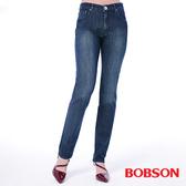 BOBSON 女款高腰刺繡鑽飾小直筒褲(8101-52)