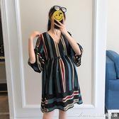 孕婦夏裝時尚寬鬆雪紡條紋孕婦裙子V領顯瘦短袖上衣韓版洋裝潮艾美時尚衣櫥