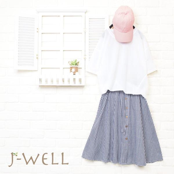 J-WELL 下襬抽細摺開岔涼感上衣格裙二件組 (組合A49 8J1537白F+8J1232深藍F)