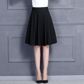 2018新款夏季大碼A字裙半身裙中長款春女大擺百褶蓬蓬半身長裙子