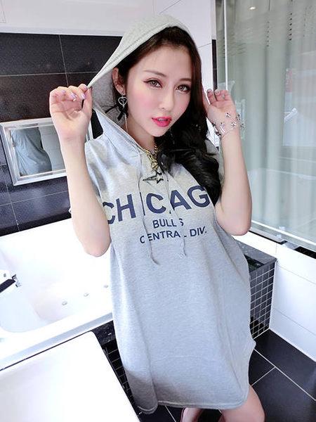 克妹Ke-Mei【AT51658】CHICAGO 超有質感我超愛抽繩連帽T恤洋裝