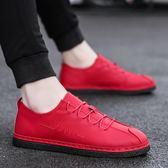男鞋春季韓版韓版潮流豆豆鞋社會精神小伙一腳蹬懶人皮鞋休閒紅色潮鞋 限時八五折