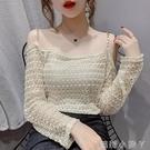 一字露肩吊帶蕾絲衫女2021春裝新款寬松韓版洋氣百搭鏤空長袖上衣 蘿莉新品