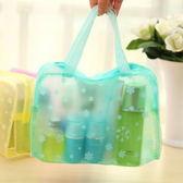 化妝包 洗漱包 透明便攜式萬用包 藍色 【金奇】