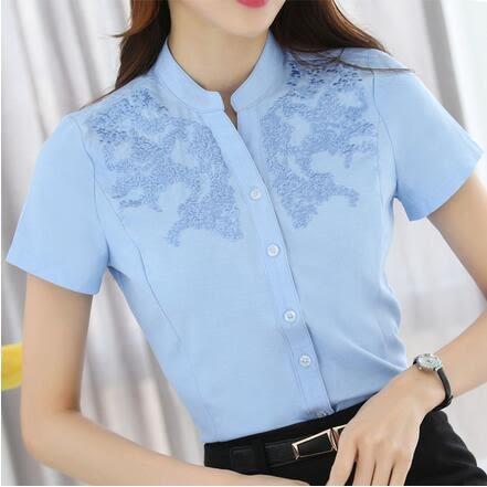 【TU20】短袖襯衫 新款刺繡白襯衣 職業女裝正裝打底襯衫8933
