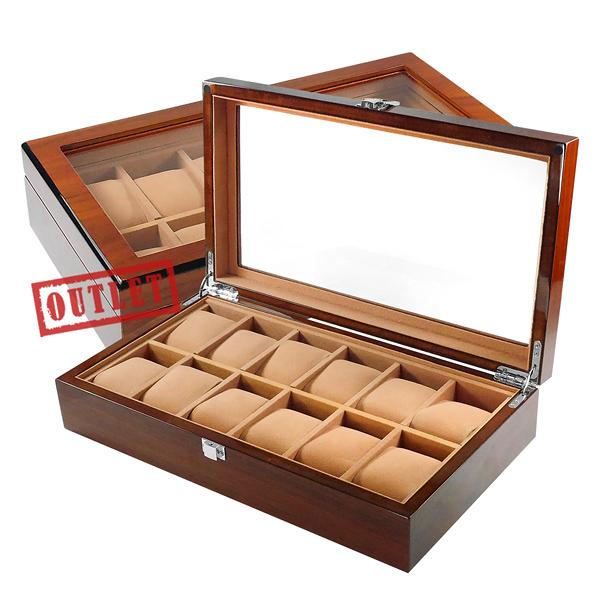 展示福利品8折↘手錶收藏盒 配件收納 12入腕錶收藏盒 鋼琴烤漆 - 駝色x紅褐木紋 #842-MQ-1003-1-defect