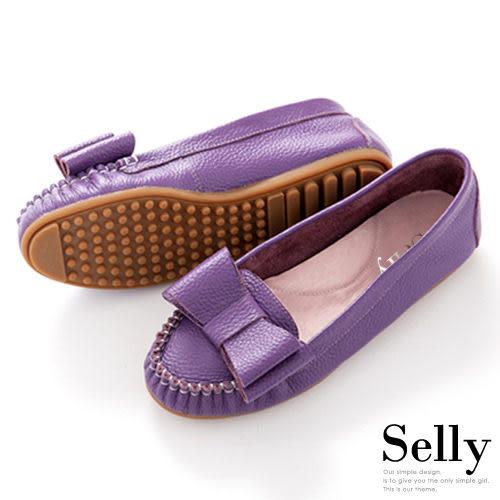 Selly *沙粒* 採蜜仙子‧卡哇款雙層蝴蝶結真皮莫卡辛豆豆鞋‧ 葡萄紫