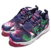 Reebok 休閒慢跑鞋 Furylite Graphic 紫 綠 粉紅 花卉圖騰 運動鞋 女鞋 【PUMP306】 AQ9837