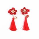 刺繡花朵中國風流蘇髮夾一對 2個一對 橘魔法 Baby magic 現貨 髮飾 髮夾 女童 嬰兒 過年 新年 週歲