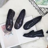 粗跟厚底樂福鞋春季新款英倫復古風女鞋大碼單鞋漆皮小皮鞋女