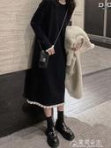 針織裙赫本風小黑裙女秋冬新款法式溫柔風毛衣裙過膝內搭針織洋裝長 快速出貨