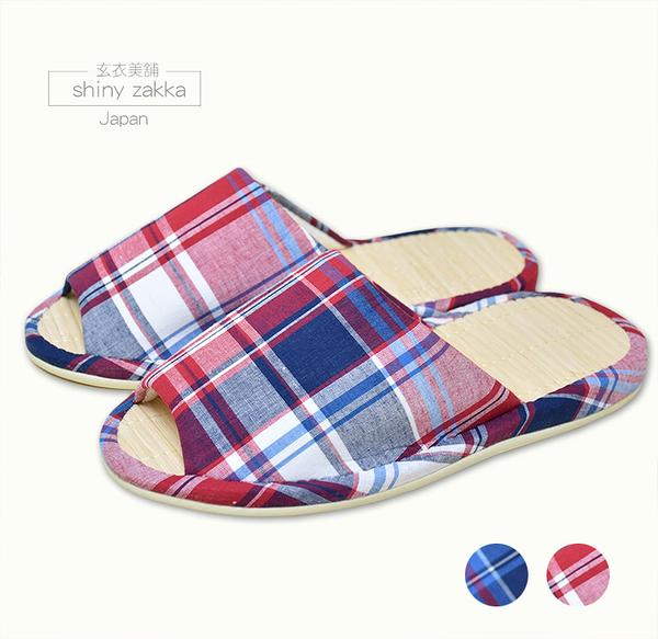 日本室內拖鞋-amis竹蓆-條狀方格圖樣23~24.5-兩色-玄衣美舖
