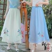 2020夏季民族風女裝 復古漢服繡花裙 雪紡飄逸闊腿褲女士休閒褲子 十一週年降價