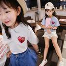 女童短袖夏裝新款愛心韓版寬鬆百搭刺繡亮片個性半袖上衣t恤【台秋節快樂】
