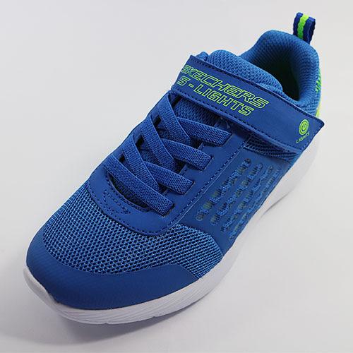 [陽光樂活](AX) SKECHERS 男童 燈鞋 運動鞋 DYNA-LIGHTS - 90740LBLLM 藍x綠