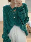 短款爆款毛衣2021年新款女秋冬寬鬆外穿慵懶風韓版V領針織衫上衣 貝芙莉