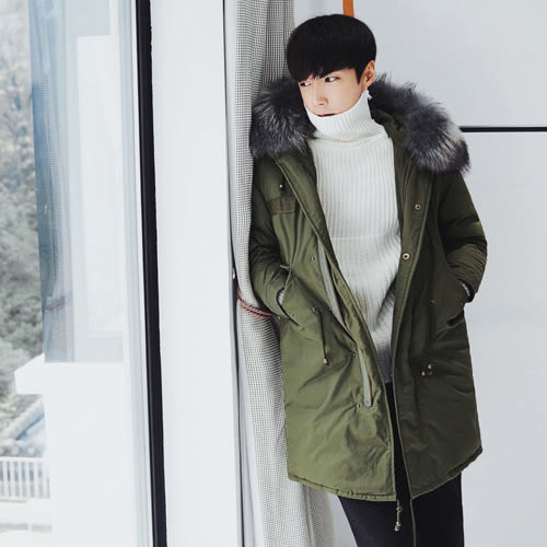 PocoPlus 冬季外套寬鬆連帽棉衣男中長款韓版加厚男士棉服青年大毛領棉潮   C348
