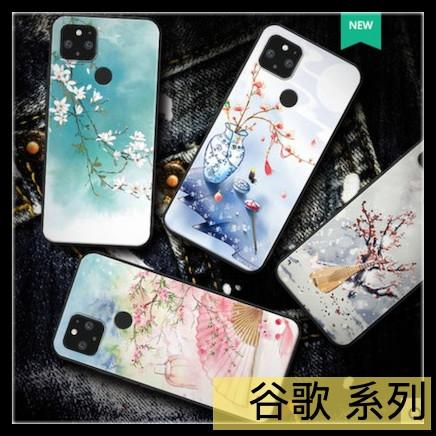 【萌萌噠】谷歌 Google Pixel 5 新款小清新 復古中國風彩繪保護殼 全包防摔軟殼 手機殼 手機套