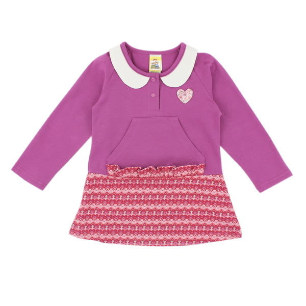 【愛的世界】公主領彈性洋裝上衣/2~4歲-台灣製- ★秋冬上著