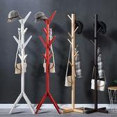 簡易實木質衣帽架落地式臥室掛衣架子客廳家用收納架置物架