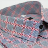 【金‧安德森】紅灰相間方格窄版長袖襯衫