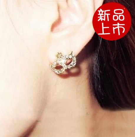 ►super junior波西米亞面具鑲鑽小花耳釘 耳飾【B1072】