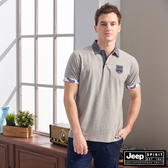 【JEEP】撞色領拼接短袖POLO衫(灰色)
